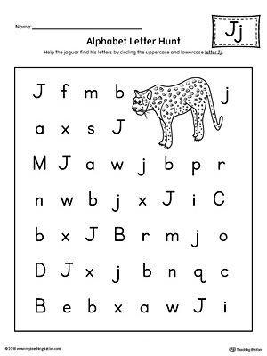 alphabet letter hunt: letter j worksheet | education | pinterest