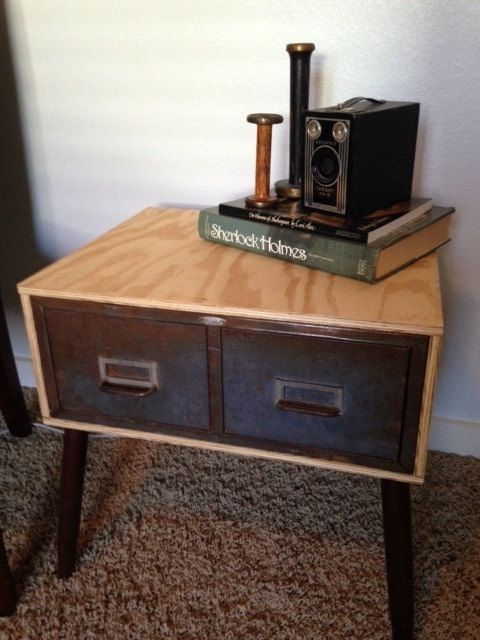 Mid Century Modern Industrial Dvd File Cabinet Side Table Etsy