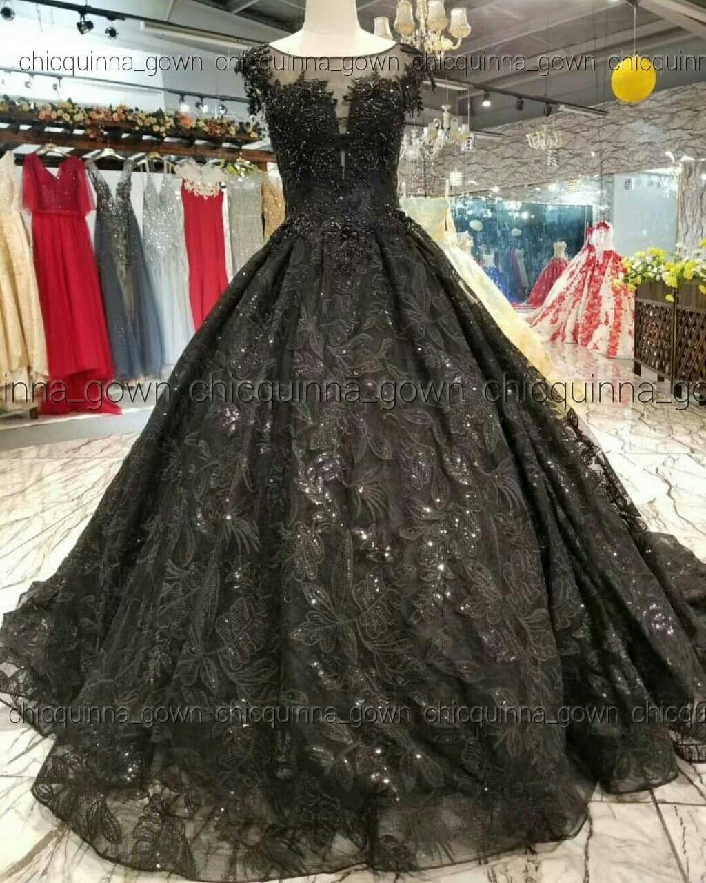 Gaun Pengantin Hitam Black Wedding Dress Vestidos Altos