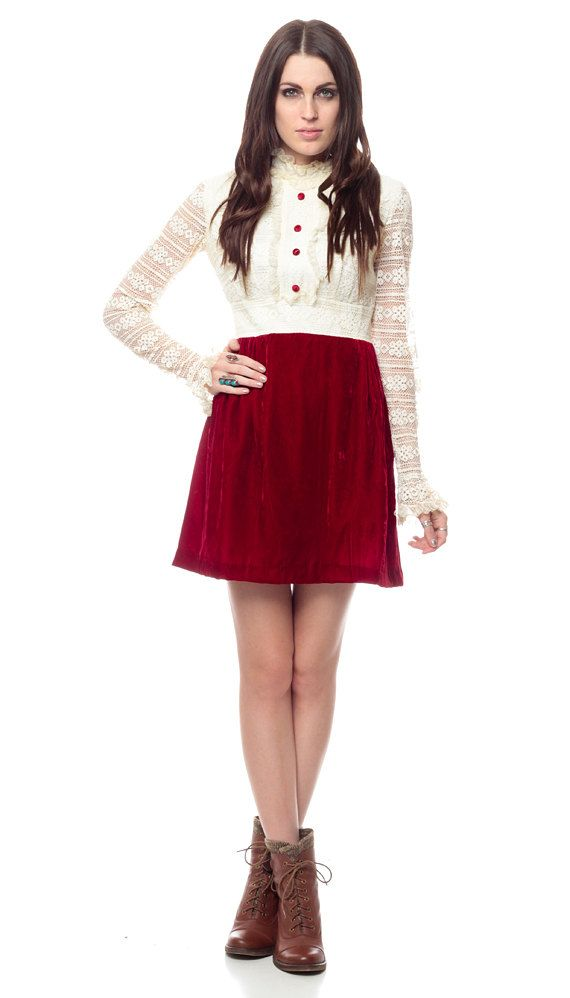 9f761d0bb69df VELVET Lace Dress 60s Mini Dolly White CROCHET 1960s by ShopExile, $95.00