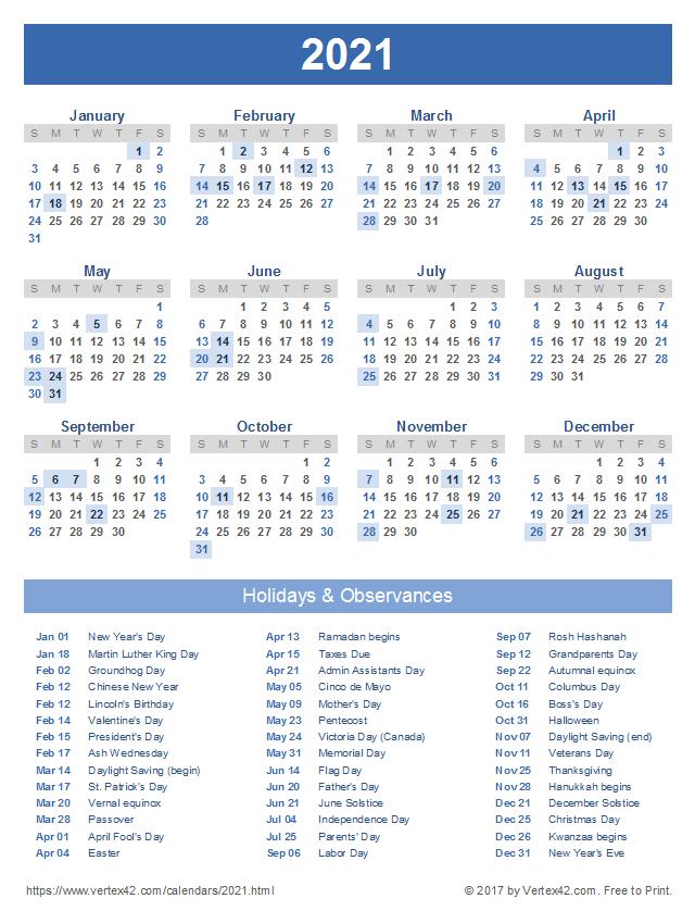 Calendar For 2021 With Holidays And Ramadan - January ...