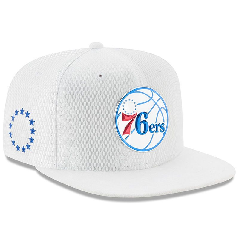 hot sale online b12ea 52739 Philadelphia 76ers New Era Youth 2017 NBA Draft Official On Court  Collection 9FIFTY Snapback Hat - White