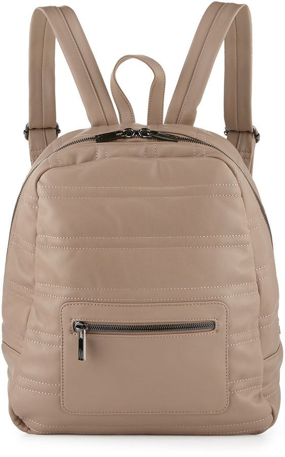 Neiman Marcus Classic Quilted Faux-Leather Backpack, Taupe ... : quilted faux leather backpack - Adamdwight.com