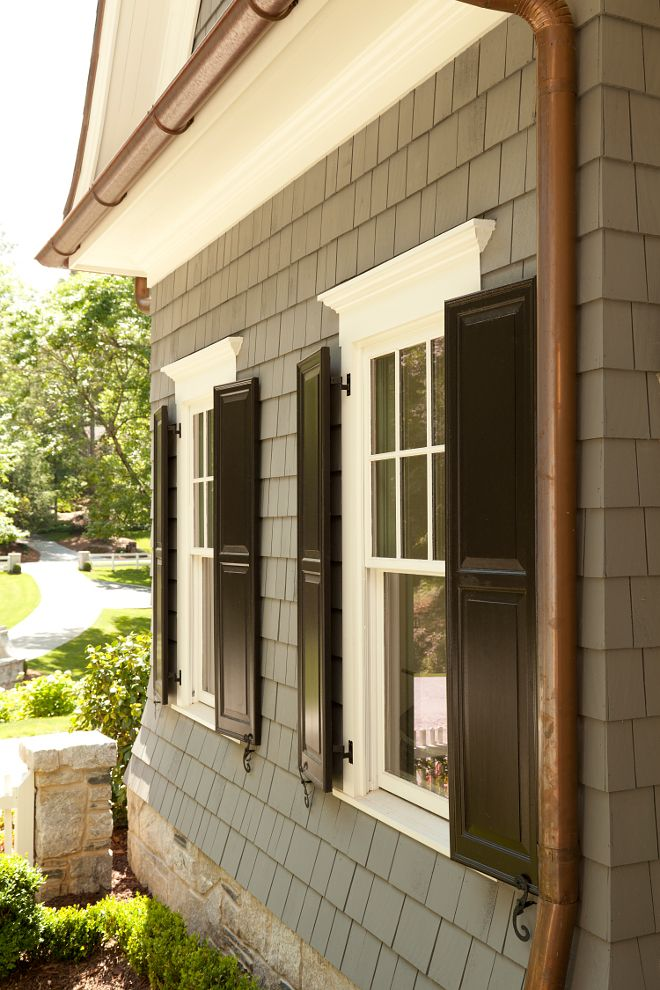 Black Shutters Are Painted In Tie By Sherwin Williams The Exterior Paint Color Is Sw 3026 King S Canyon