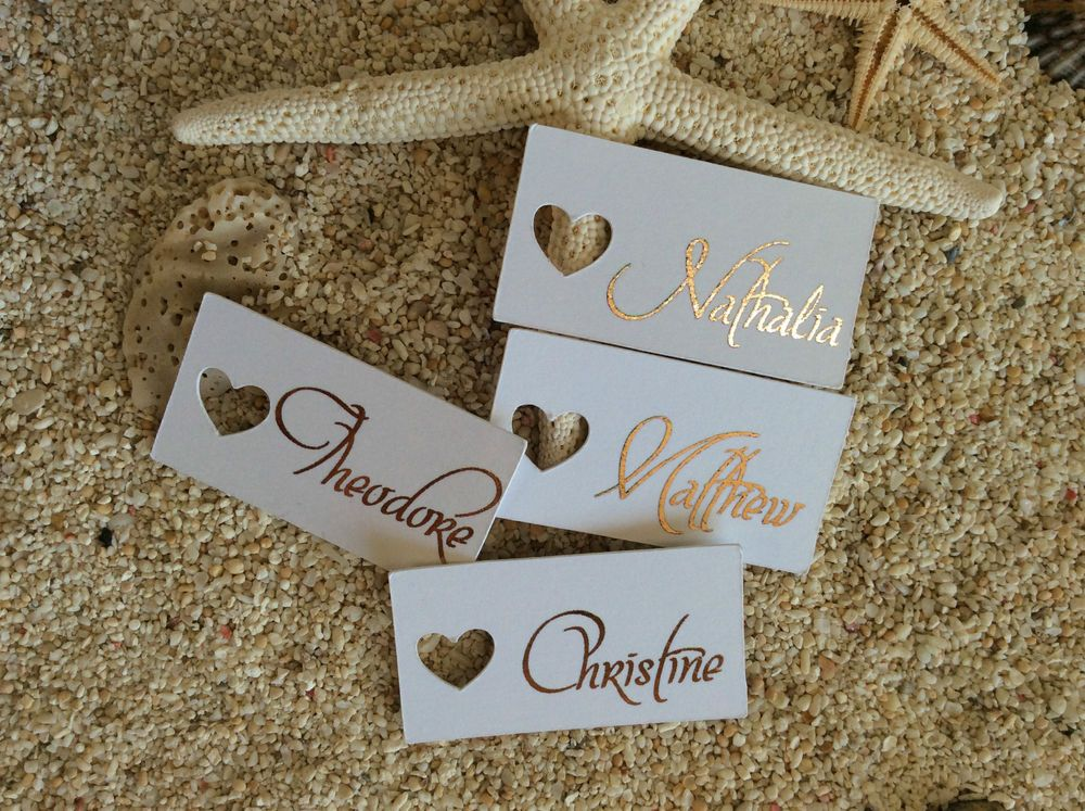 10 White Gift Tags Wedding Favour Personalised Place Cards Rose Gold Foil Bombon