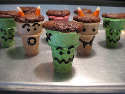 Halloween Ideas: Monster Cupcake Cones