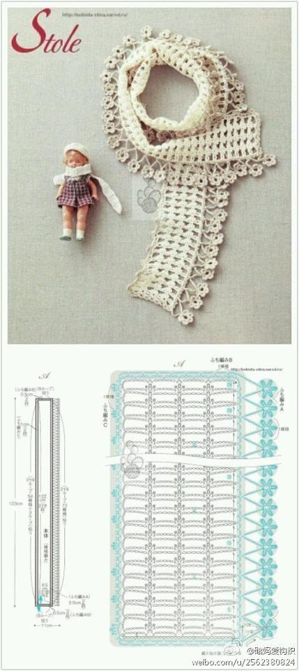 Patrones para Crochet: Patron Bufanda Flores Colgando | PATRONES ...