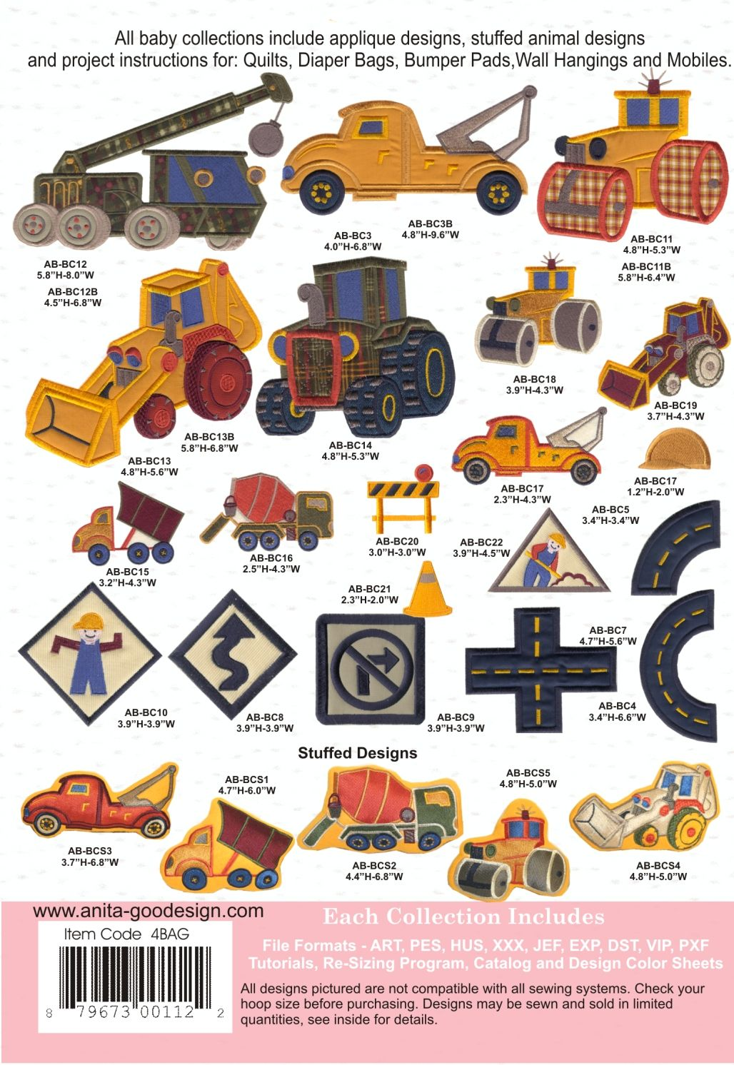 BABY CONSTRUCTION MACHINE EMBROIDERY DESIGNS USB ANITA GOODESIGN