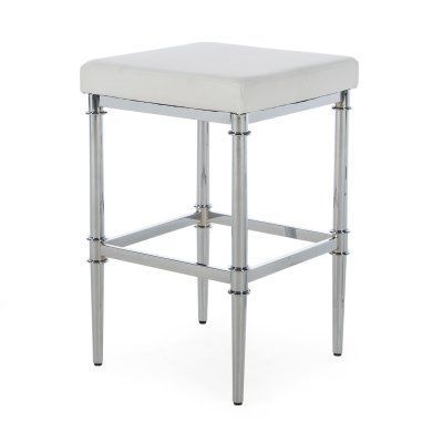 Belham Living Baldwin Chrome Backless Bar Stool White - RH160817-WHITE