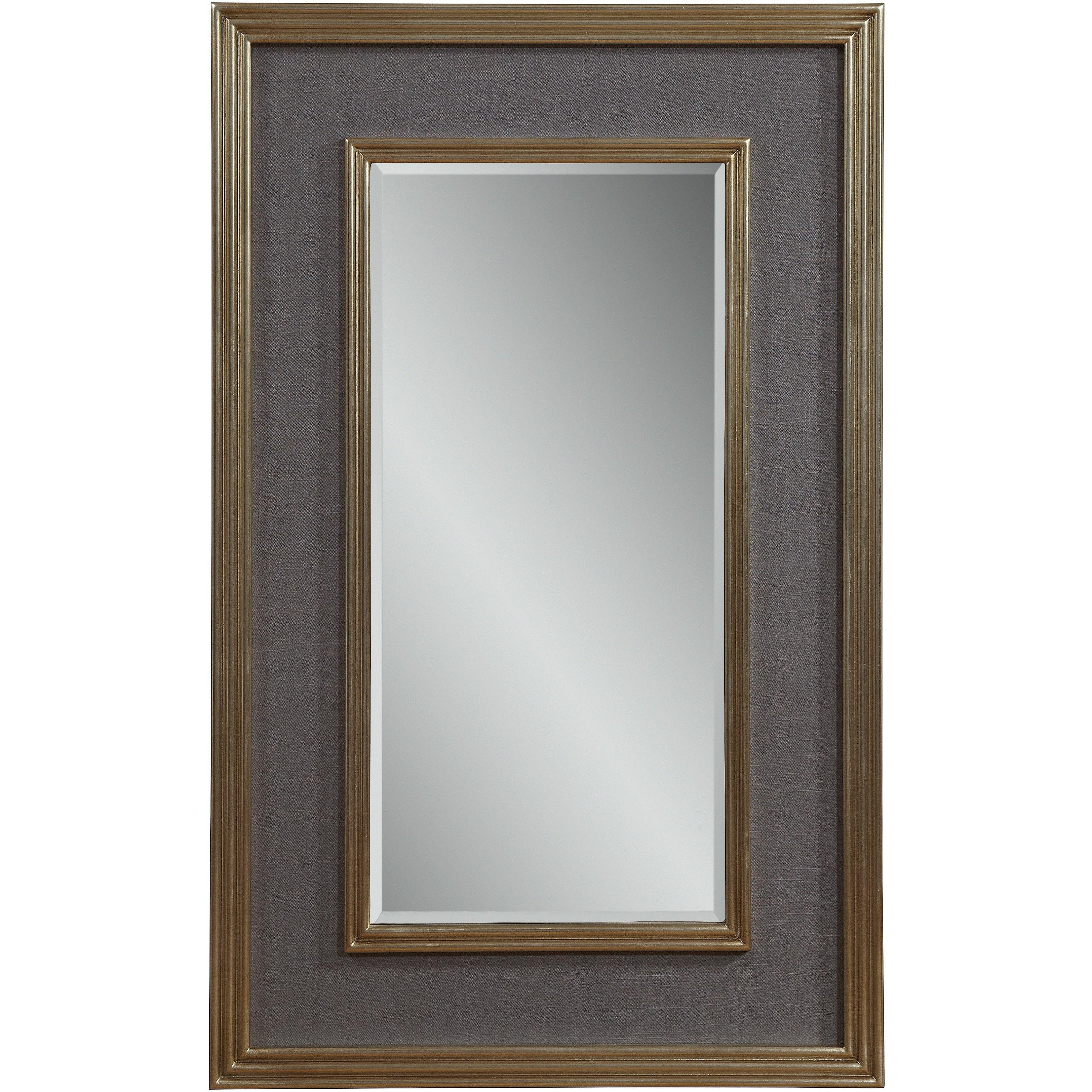 30 x 48 mirror beveled bassett mirror mulholland wall silver leaf grey linen 30