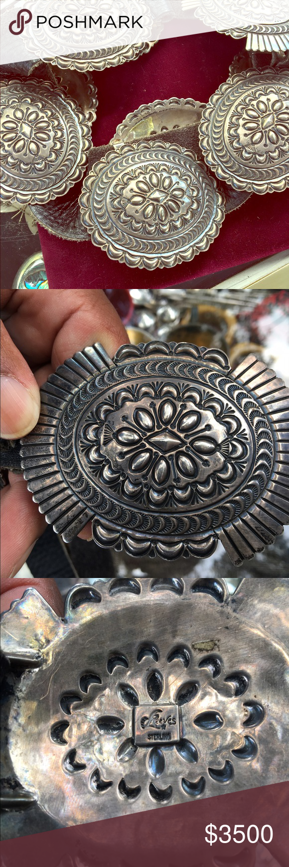 reeves native american belt buckles Sterling silver Sun burst belt buckle adjustable Reeves Accessories Belts
