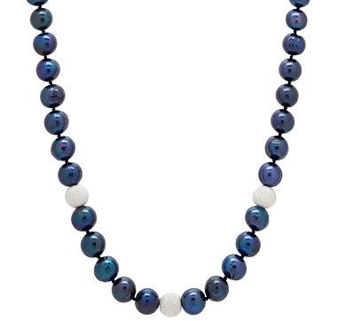 Freshwater Ringed Pearl  Silver Frosted Bead Necklace - BLUE
