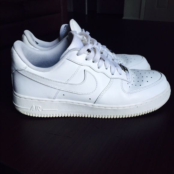 1c9b86a588 White low-top Nike Air Force 1 (AF1) sneakers Slightly worn, still in good  condition. The inside looks rougher than the outside, slight tears in  interior ...