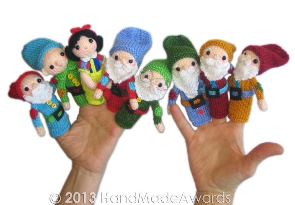 Cat Tea Cosy Knitting Pattern : Snow White and the Seven Dwarfs Finger Puppets PDF Email Knit PATTERN Finge...