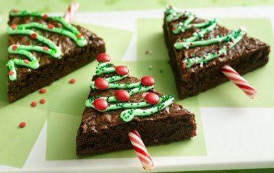 peppermint stick Christmas tree brownies