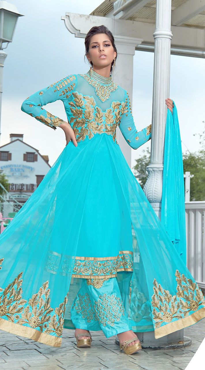 bb2e382ebc57 Trendy Sky Blue Georgette And Soft Net Indo Western Salwar Kameez ...