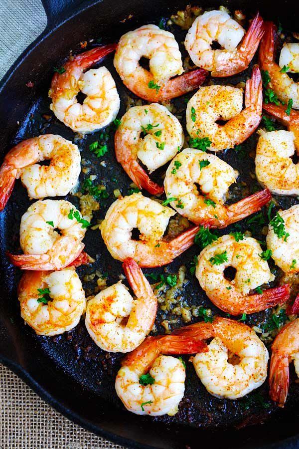Garlic Shrimp (Cooked in 10 Mins!!) - Rasa Malaysia #garlicshrimprecipes