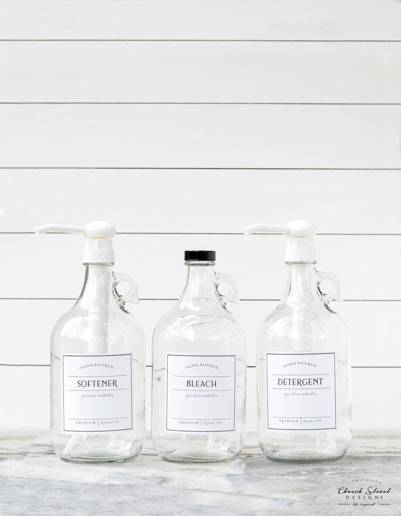 1 2 Gallon Jug Bleach Bottle Laundry Soap Refillable Bottles With Waterproof Labels Half Gallon Jug Growlers In 2020 Custom Bottles Bleach Bottle Laundry Soap