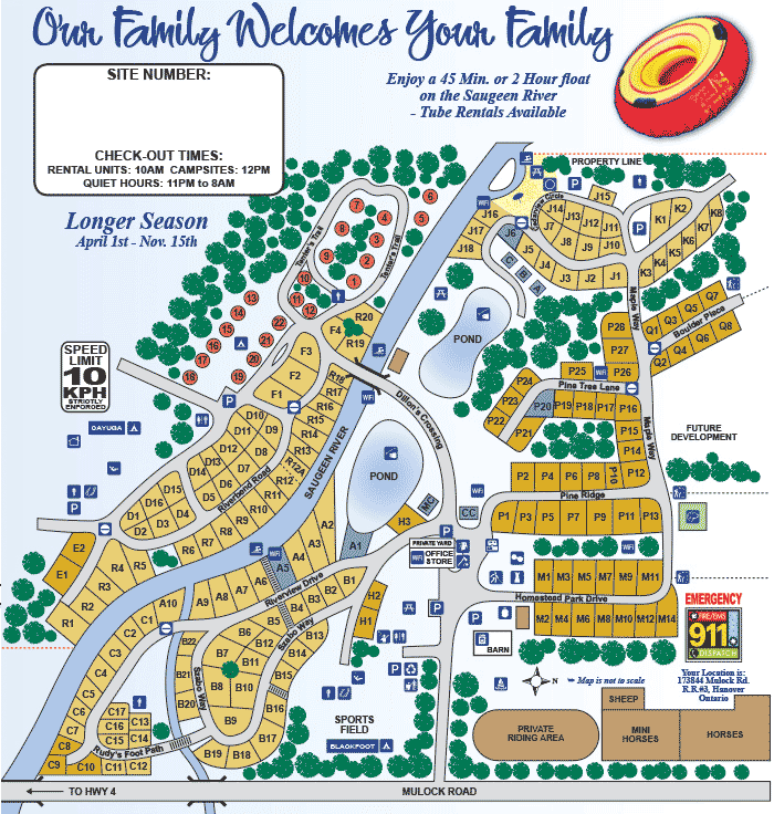Park Map Of Saugeen Springs Rv Park Hanover Ontario Rv Parks Map Rv