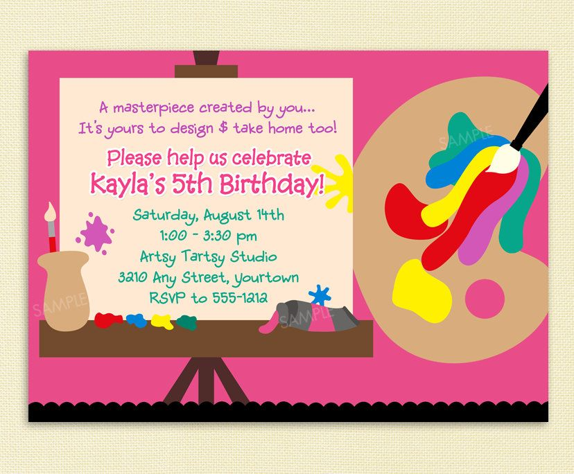 Possible Invite Paint Party Invitation For Arts And Crafts Or