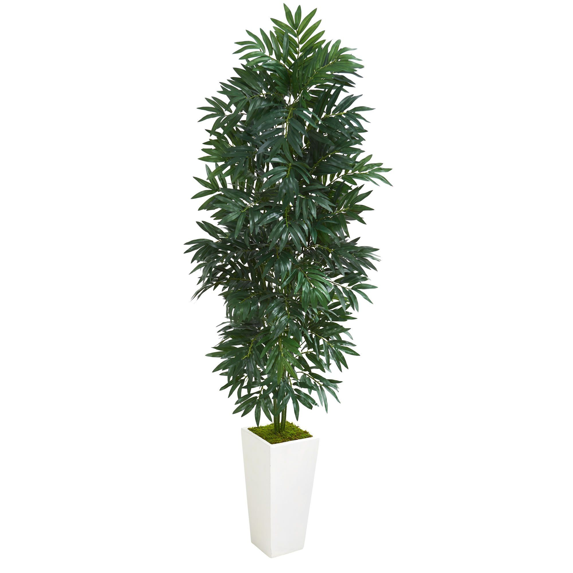 Artificial plant foot bamboo palm plant with white planter