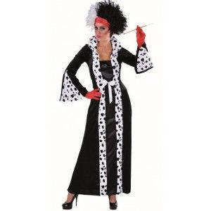 Cruella De Vil Perruque robe fantaisie 101 Dalmation Halloween Adultes Homme Femme Chien