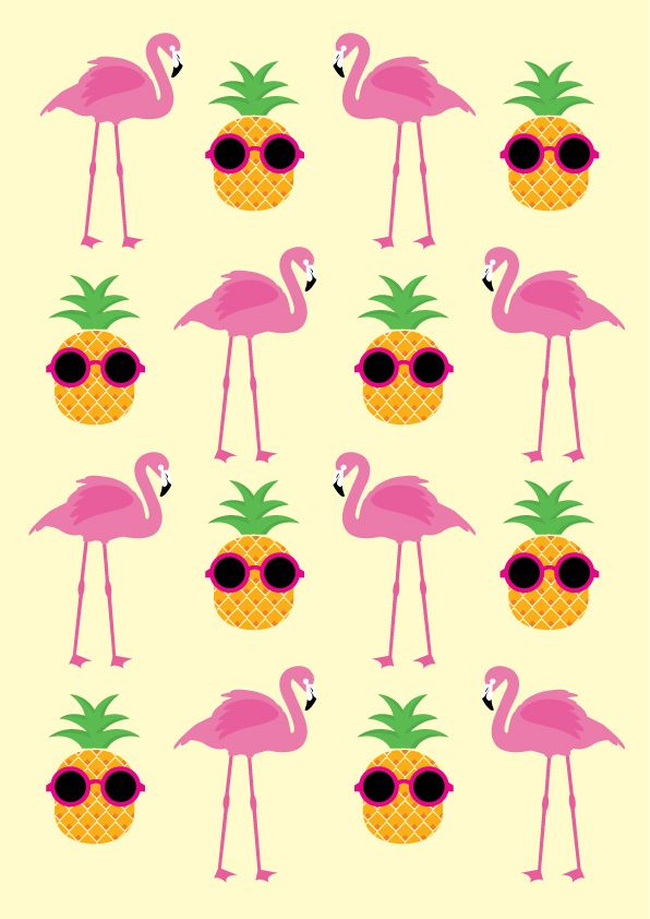 Funky pineapples and flamingos pattern | Flamingo vector ...