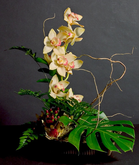 tropical arrangement centerpiece for the costa rica and thailand tables