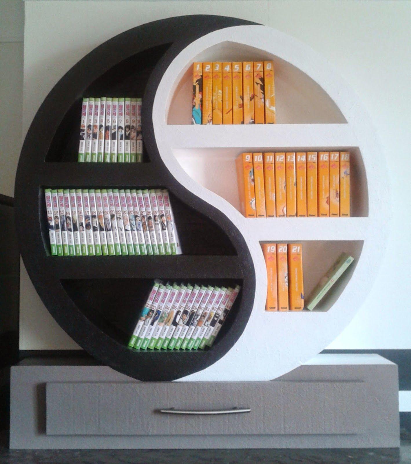 Sabine cr a carton etagere ying yang meubles en carton for Meuble mural yin yang
