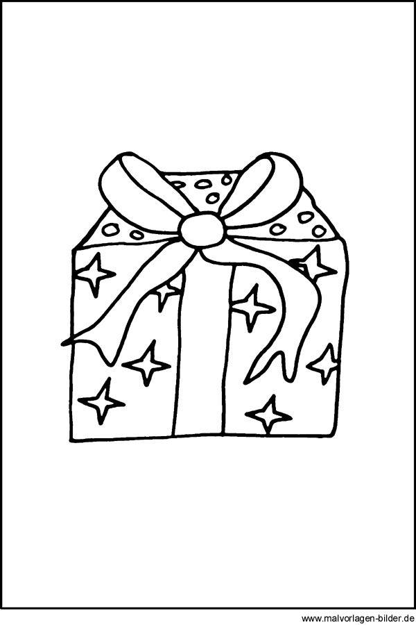 Malvorlage Weihnachtsgeschenk Geschenk Schleife