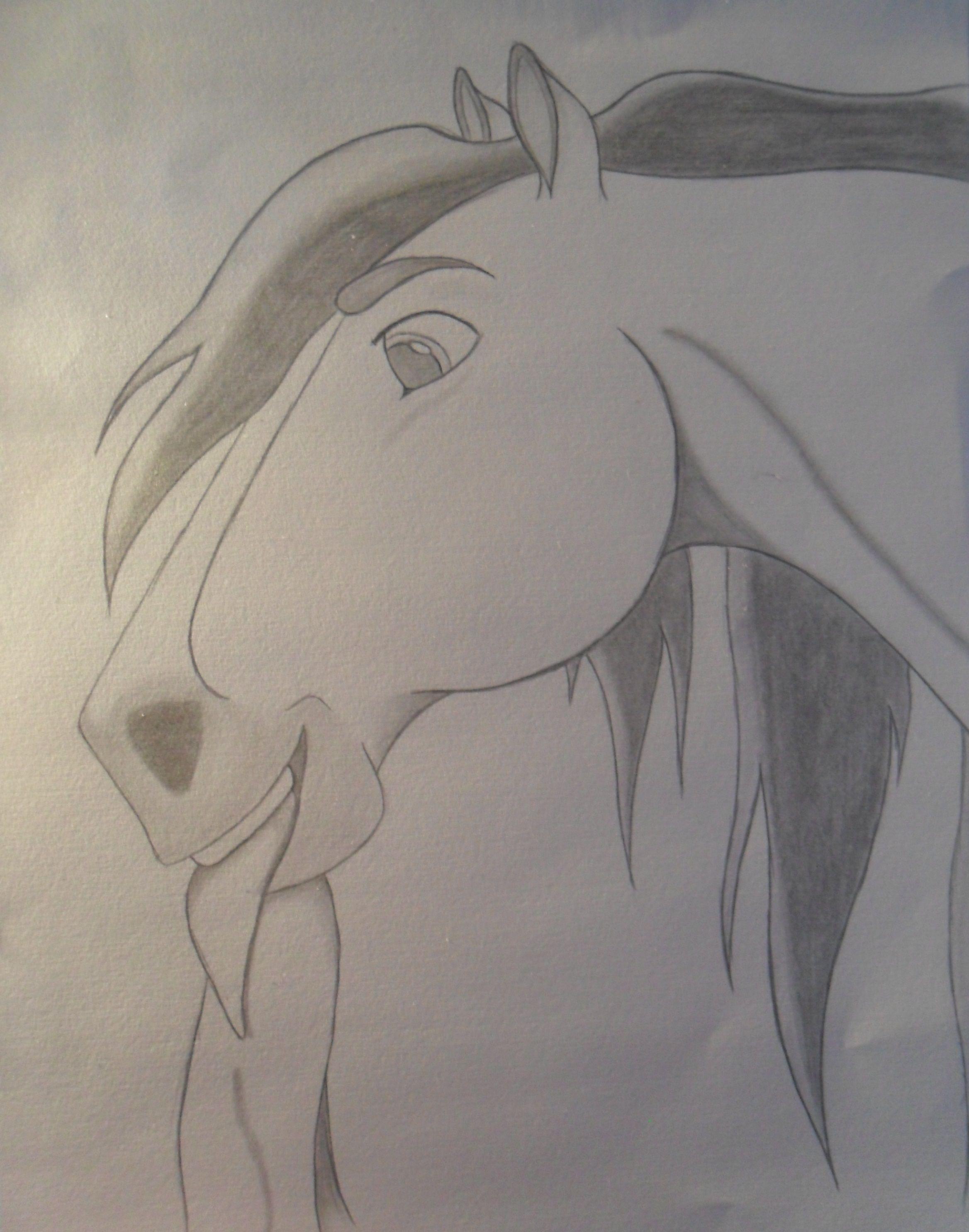 A Fan Art drawing of a screenshot of Spirit from Spirit: The Stallion of Cimarron. ----------------------------------- Art (C) Me ----------------------------------- Original Art & Spirit (C) DreamWorks -----------------------------------
