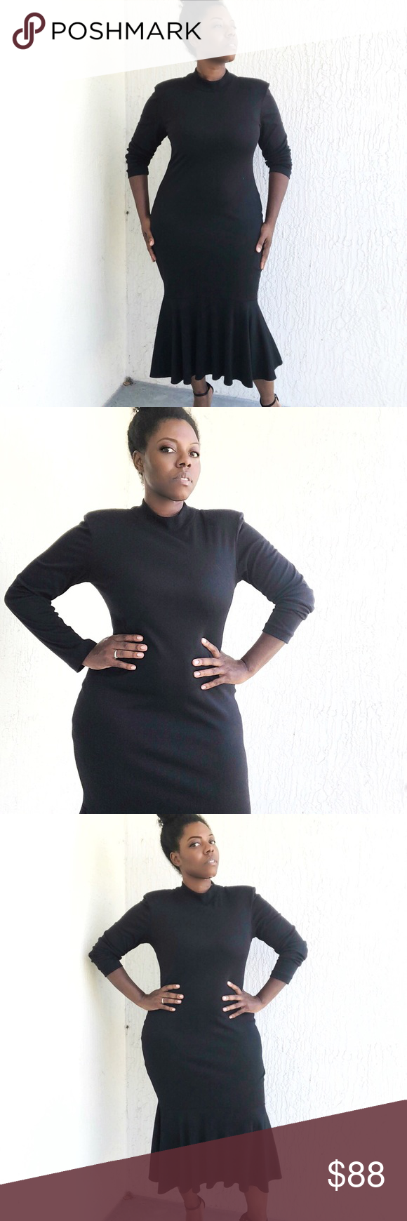 Black so soft long sleeve midi ruffle dress my posh closet