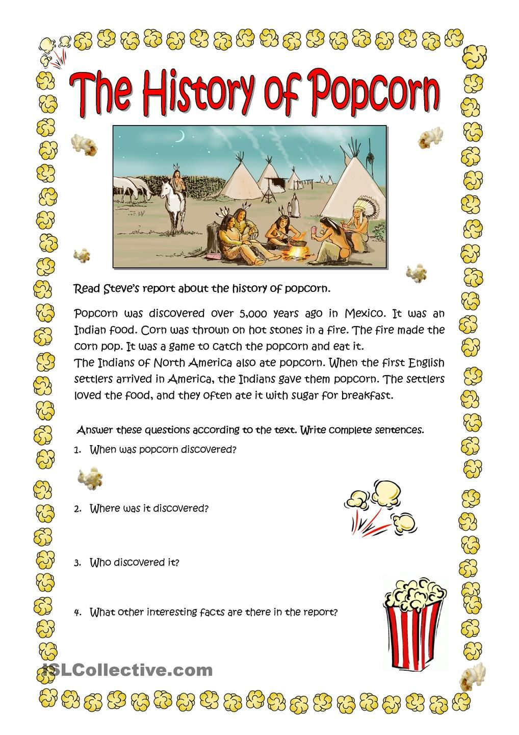The History Of Popcorn Reading Comprehension Worksheets Reading Comprehension Activities English Reading [ 1440 x 1018 Pixel ]