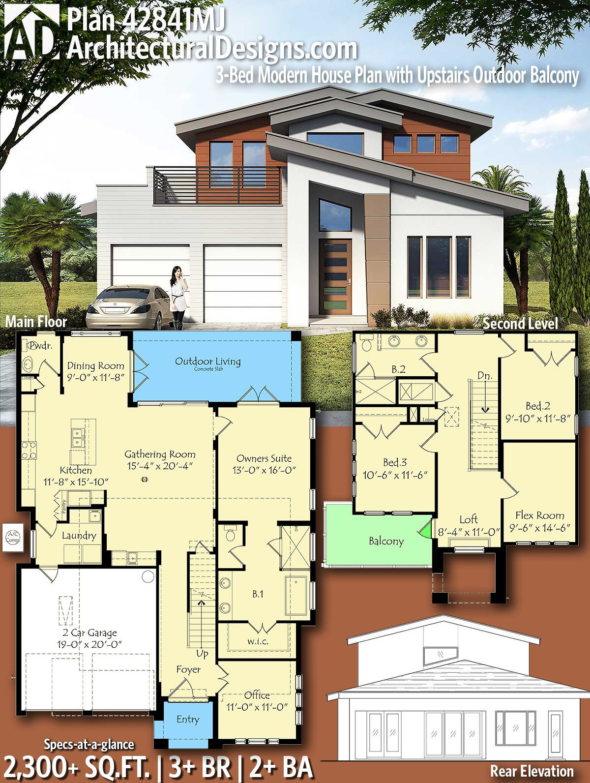Plan 42841mj 3 Bed Modern House Plan With Upstairs Outdoor Balcony