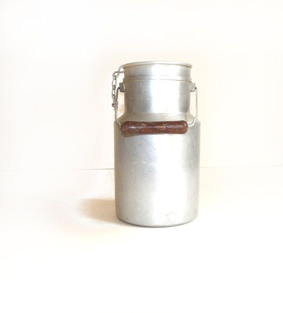 Vintage Milk Can Jar with lid and wooden by FrenchVintageShop, €20.00