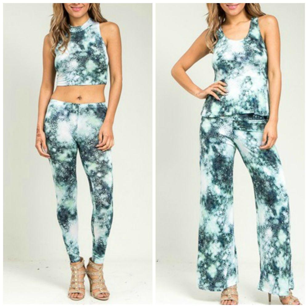 New!! 2014 Hot Celeb Mint Blue Tie Dye Crop Top Peplum Pants Tee Set