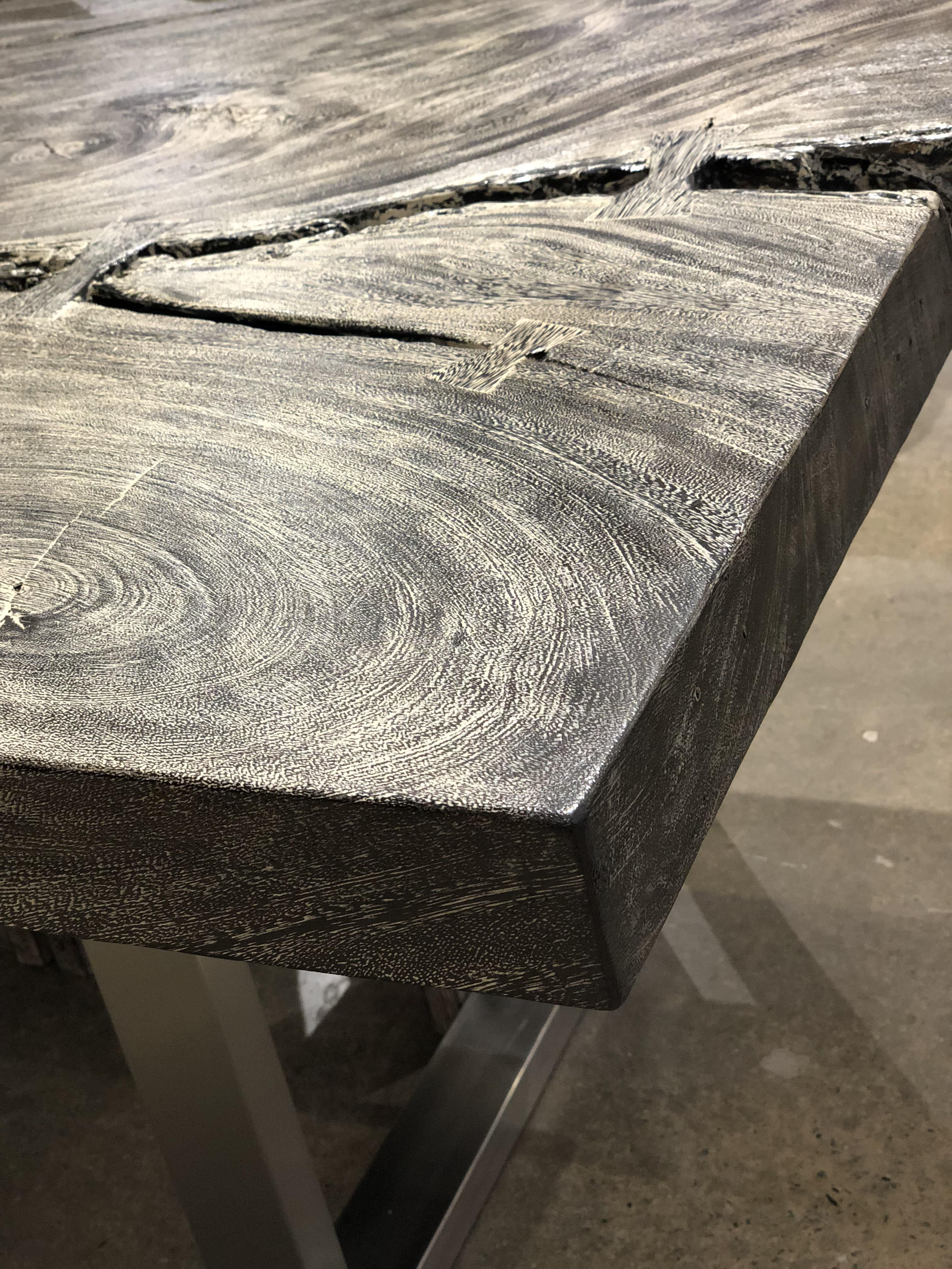 Grey Stone Finish On A Chamcha Wood Dining Table Texture