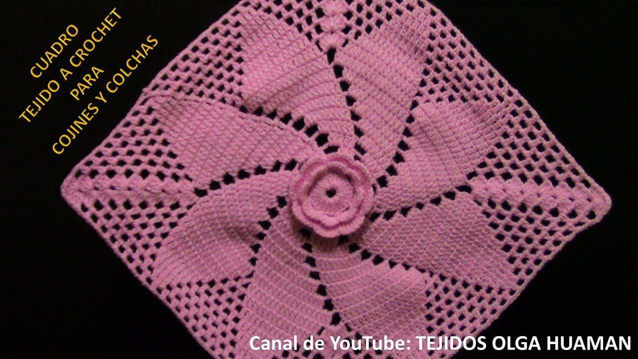 Cuadro tejido a crochet para cojines y colchas tejidos - Aplicaciones de ganchillo para colchas ...