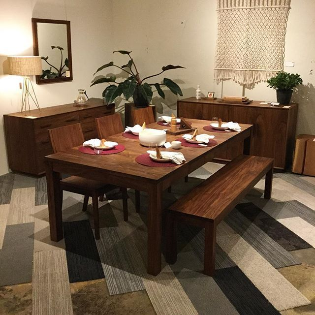 Our Studio Dining Table In Eastern Walnut With Studio Chairs And Bench Are  Looking Quite Beautiful