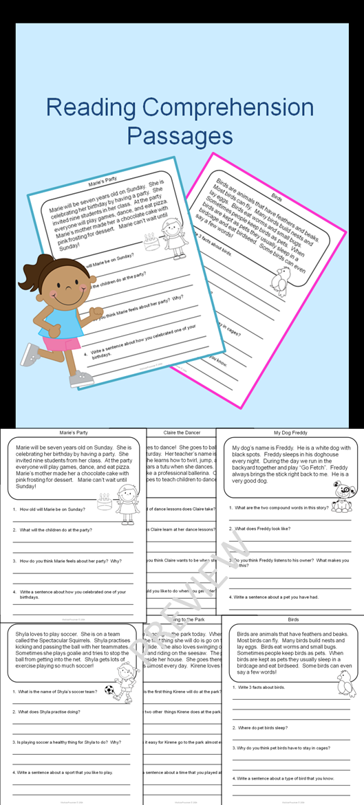 Reading Prehension Passages And Questions Second Grade