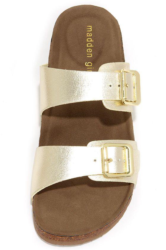 fa3a65ee7cb5 Madden Girl Brando Gold Buckled Slide Sandals at Lulus.com!