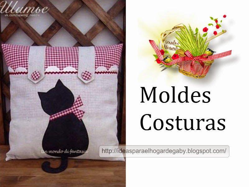 Ideas para el hogar: Cojín aplique de costura Gatito | Ideas para el ...