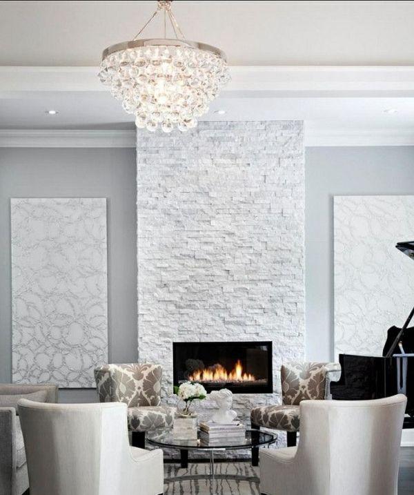 Steinwand Wohnzimmer: eine gehobene und stilvolle Einrichtung ...
