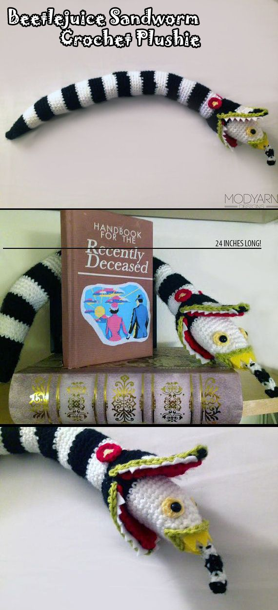 Beetlejuice Sandworm Crochet Plushie Large Size 24 Crochet Geek Crochet Halloween Crochet
