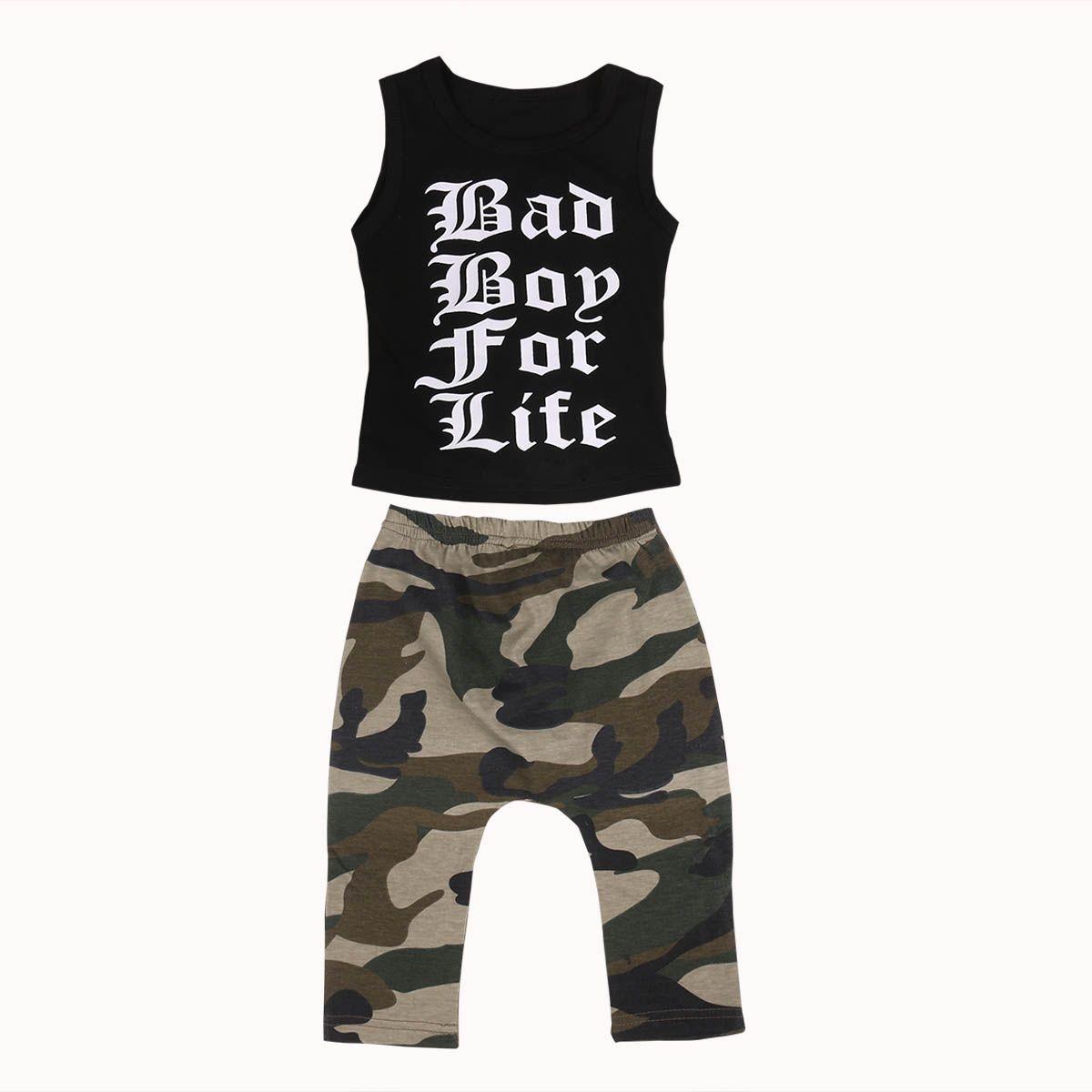 8c1a0a1fa 2017 Summer Kids Boy Clothing Set Sleeveless Letter Print Vest T-shirt Tops+ Camouflage Pant 2PCS Children Clothes 0-4Y #Affiliate