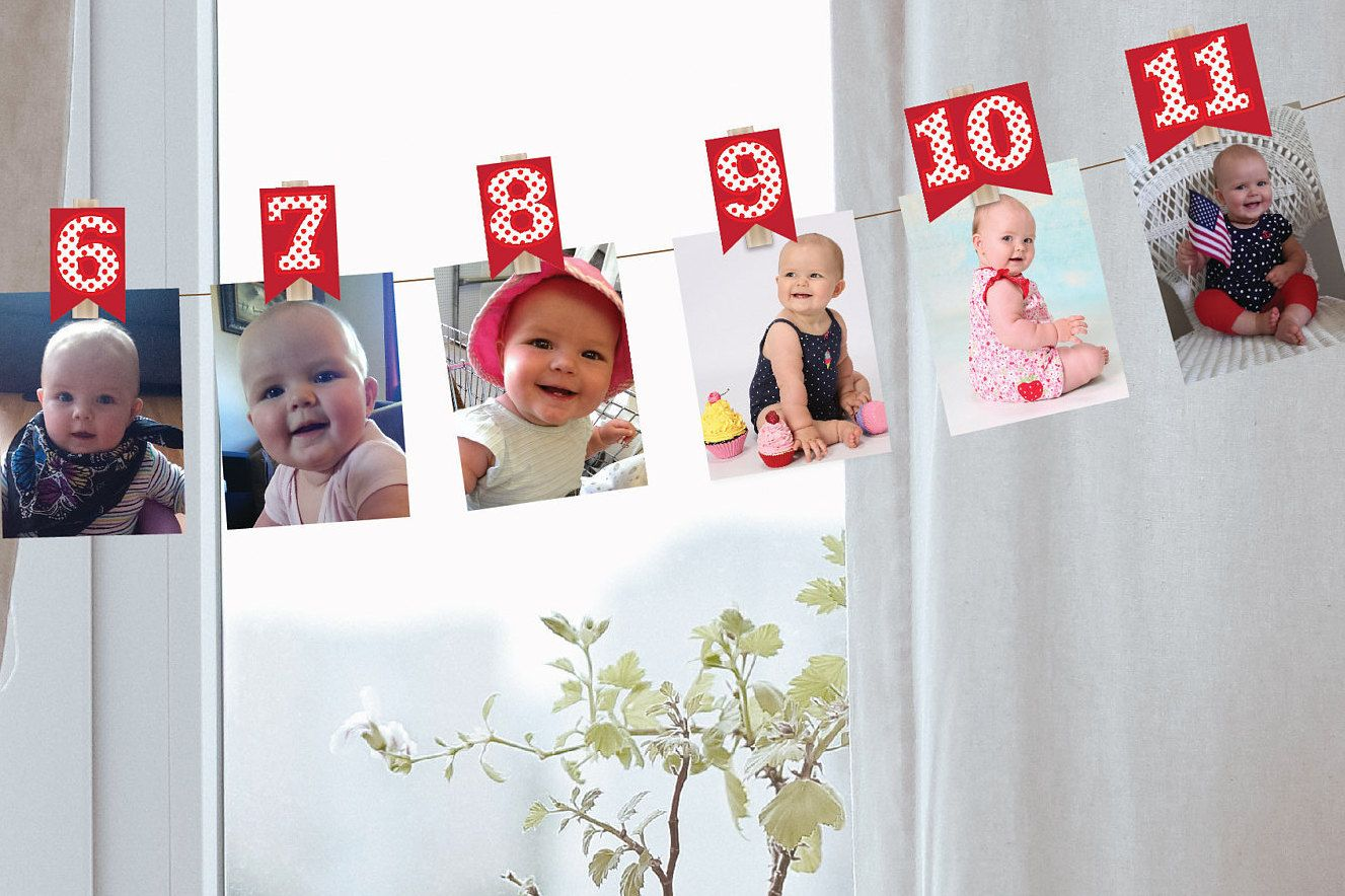 Diy Printable 0 12 Month Clothespin Photo Decorations Red Etsy In 2020 Monthly Baby Photos Display Photo Decor Diy Printables