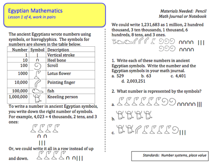 Here S A Mini Booklet Of Activities For Students On The Ancient Egyptian System Of Numeration Download The Answer Key At Math Answers Fun Math Activities Math