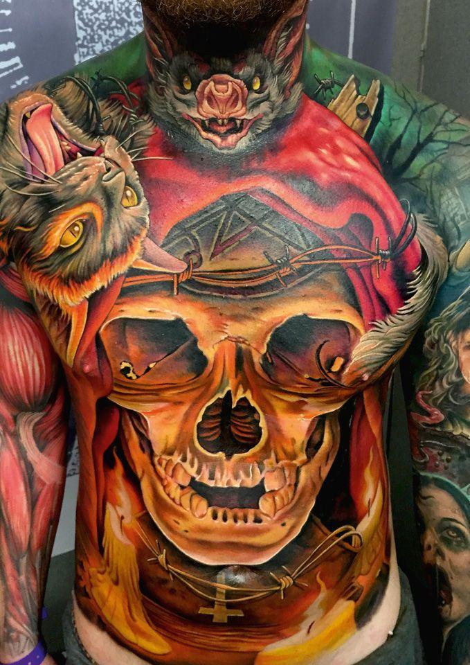 Czaszka Kot I Nietoperz Niesamowity Tatuaż Na Klatce Tattoo