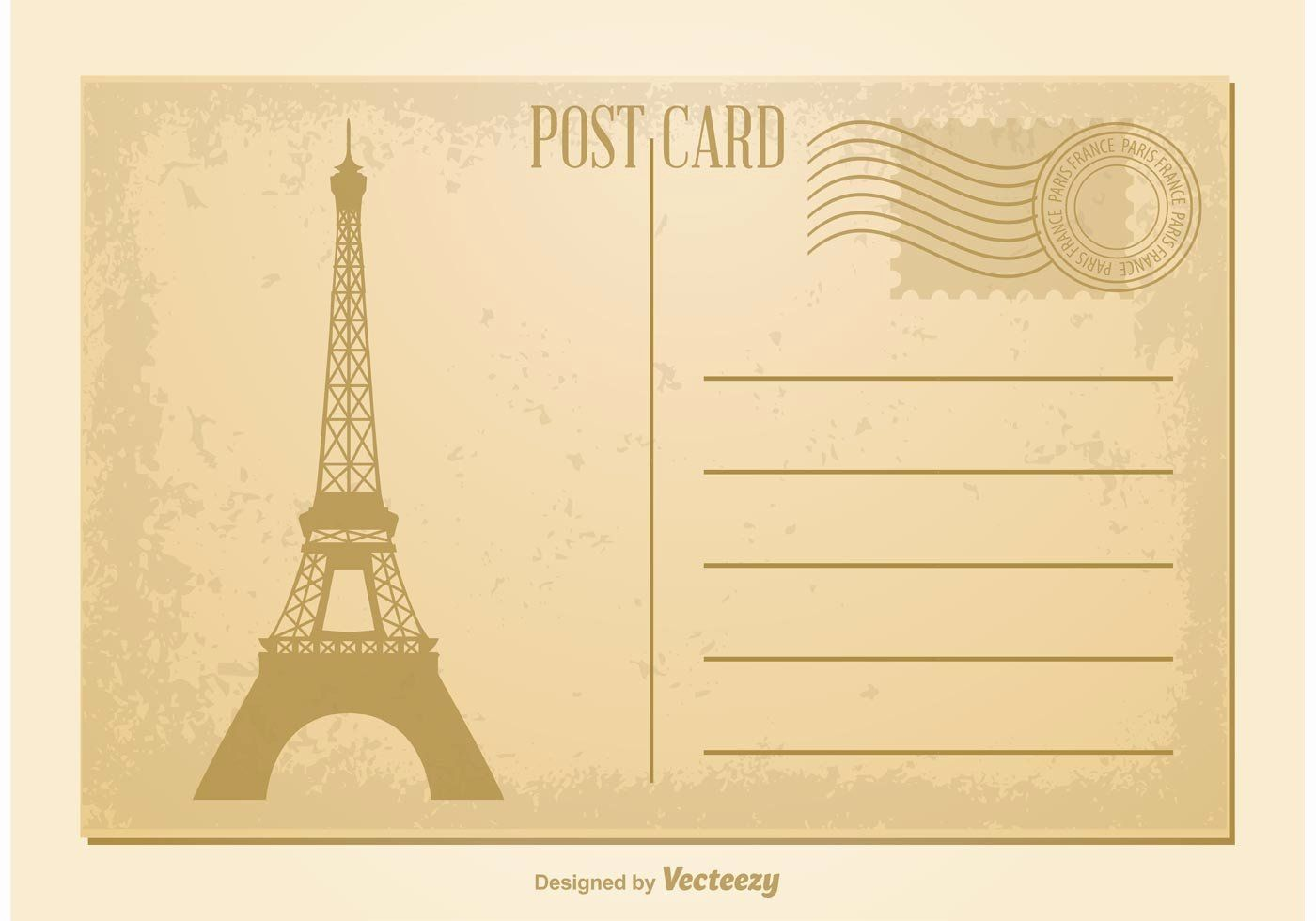 Blank Postcard Template Free Awesome Vintage Postcard Vector Download Free Vector Art Stock In 2020 Free Postcards Postcard Template Postcard Template Free