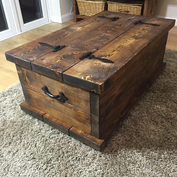 Handmade Rustic Style Chest Coffee Table Dark By Hampshirerustic Rustic Trunk Coffee Table Chest Coffee Table Coffee Table Trunk